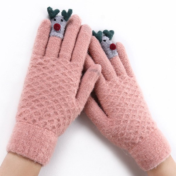 SuperB&G 2018 New Winter Gloves Women Guantes Warm Winter Mittens Female 14 Colors Cartoon Full Finger Mittens Thick