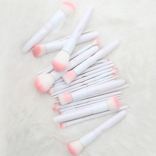 White Makeup Brushes Set 12PCS Eye Shadow Eyebrow Blending Lipstick Blush Contour Foundation Powder Cosmetic Tool Kits Professional Brush