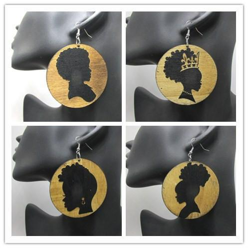 Wholesale- Free Shipping! 2017 Newest Afro Girl Wooden Earrings can mixed 5 designs