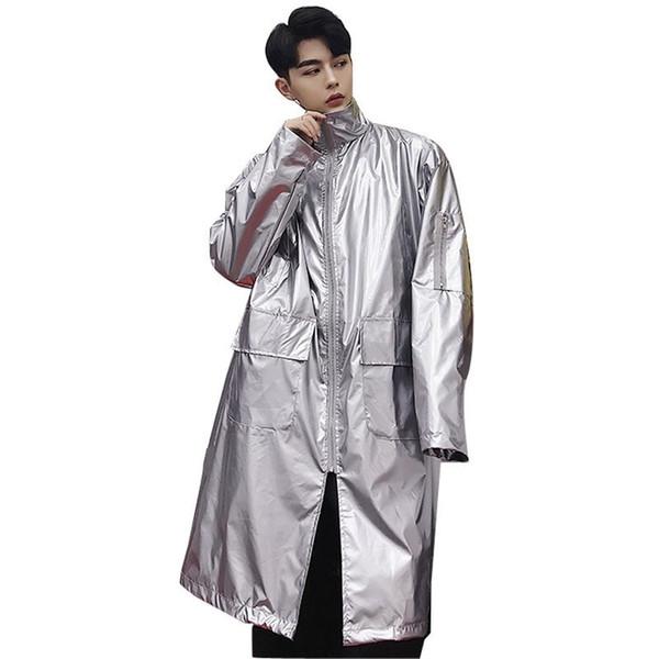 Erkek Hip Hop Trençkot Yağmurluk Palto 2018 Sonbahar Erkekler Streetwear Gevşek Moda Rahat Uzun Rüzgarlık Ceket Kaban Erkek