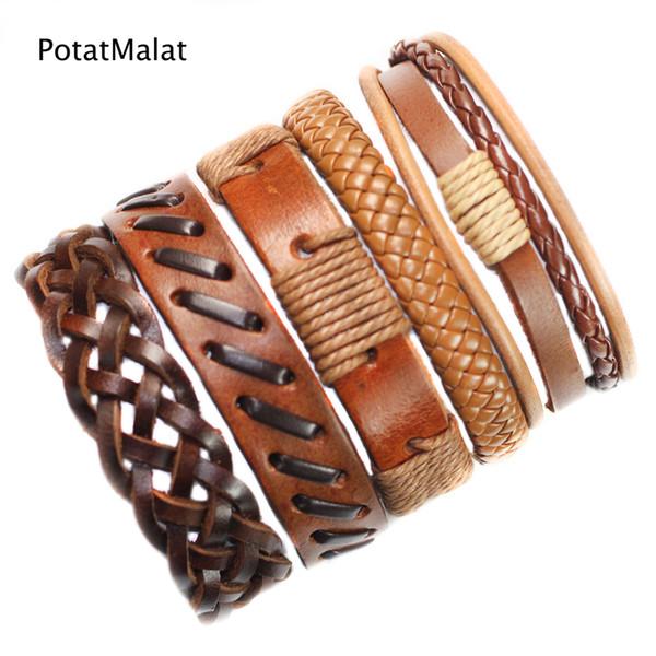 5Pcs/lot Genuine Men Wrap Charm Brown Bracelet Bangles Wristband Belt Handmade Vintage Bracelet Genuine Cowhide Punk Casual Jewelry-F43