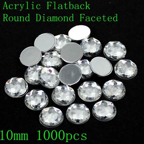Acrylic Rhinestones Crystal Color Many Sizes Round Shape Flatback Round Faceted Design Nail Art Glue On Beads DIY Decoration