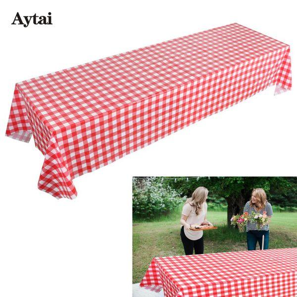 Aytai Plastique Rouge Nappe Disposabele Vaisselle Damier Table Cover pour Ferme Fête D'anniversaire Disponsable Vaisselle Ensembles