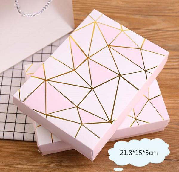 21.8x15x5 cm rosa estampado en caliente Caja de Pastel de Papel de Diseño caja de Galletas de Fiesta de Chocolate Caja de Regalo 100 unids / lote envío gratis SN1314