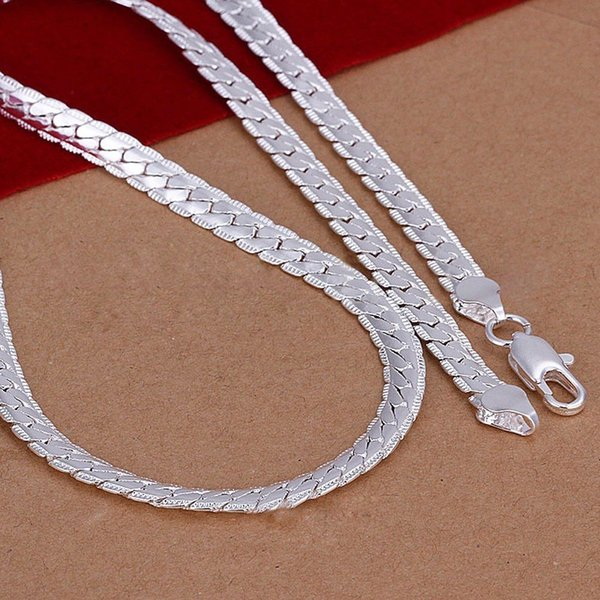 20'' Inch 5MM Snake Chain Necklace Beautiful Fashion Luxury Jewerly Making 925 Solid Silver Plated Classic Wide Women Men's Punk Rock Chain