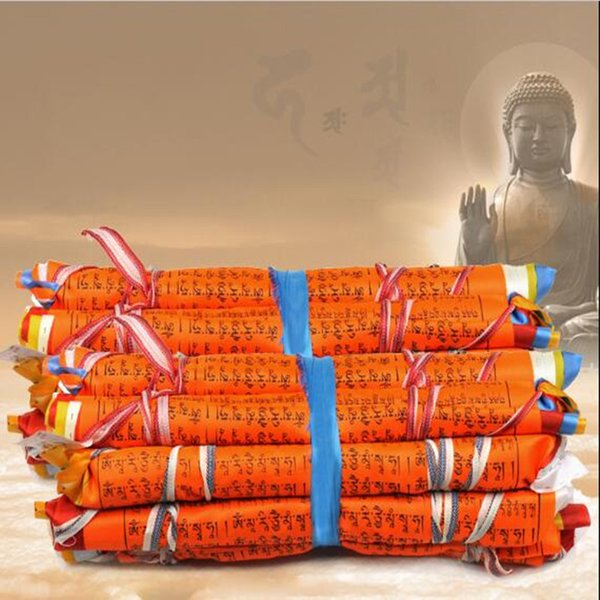 21 Faces/String 5 Meters Opening Light Auspicious Silk Cloth 7 Colors Clear Pattern light buddha mantra Hanging Buddhist Tibetan Pray Flag