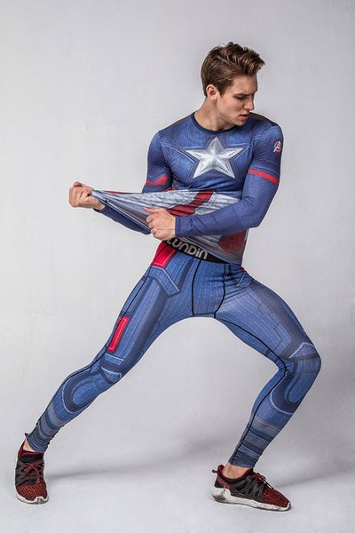 Men Gym Clothing Sport Suit Captain America digital printing long sleeved T-shirt fitness suit sport clothes sweat quick drying sets