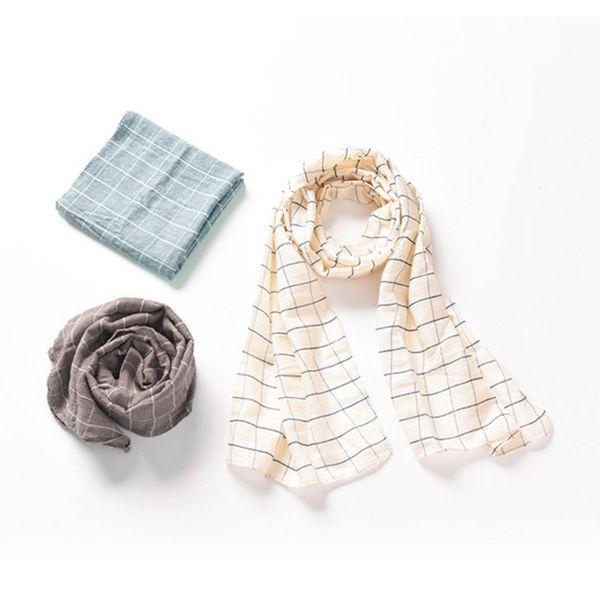 KChildren Kid Girls Boys Grid Pattern Scarves Scarf Cotton Linen Winter Warm Scarf