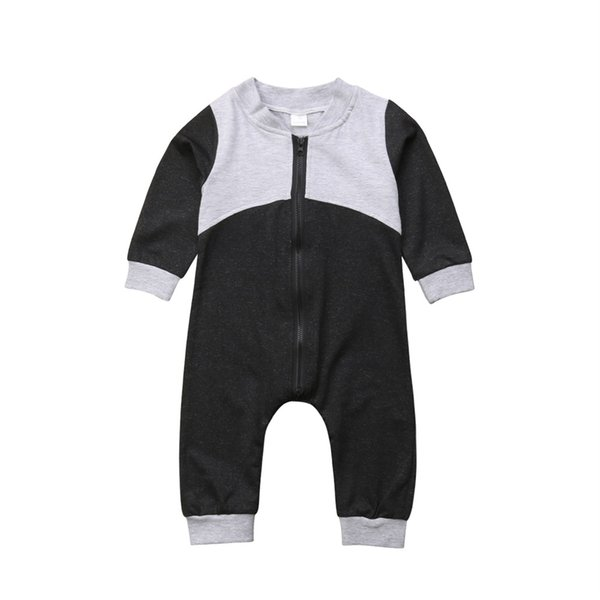 Infant baby boy black gray long sleeve jumpsuit romper pajamas solid color zipper playsuit newborn baby kid clothing rompers 0-24M