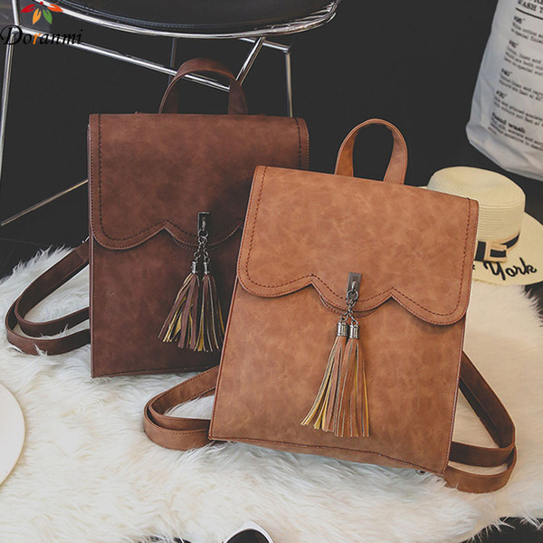 DORANMI Classic Large Capacity Schoolbag Students Backpacks 2018 Vintage Leather Back Bag Tassel Square Shoulder Bag DJB977