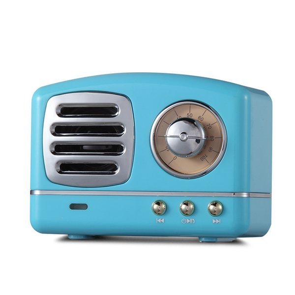 HM11 Retro Radio Bluetooth Speaker Vintage Mini Bluetooth Speaker Nostalgic heavy Bass 3D Stereo Surround HiFi Sound Effects blue