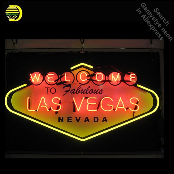 Las Vegas Neon Sign Welcome to Fabulous NEVADA Cool Neon Bulbs Recreation Beer Bar Room Handcraft Store Display 24x18 with board