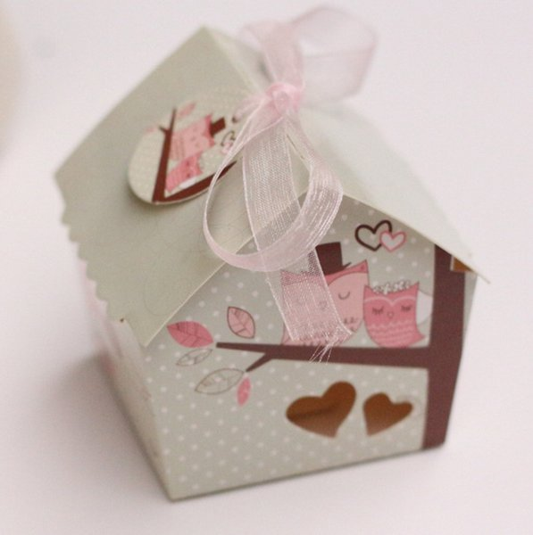 50pcs/lot New Hollow Small Bird Carton Super Cute Mini House Sweet Wedding Candy Box Party Favor Gift Box With Ribbon And Card
