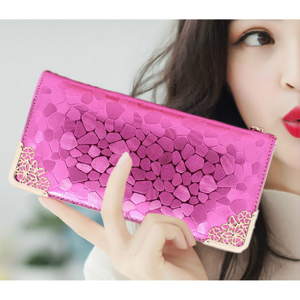 Ladies' Zipper Long Wallet Stone Pattern PU Leather Metallic Luster Design Women's Small Purse Card Holder Female Clutch Bag