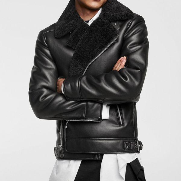 2018 WARM Winter MANS BLACK Faux Fur DOUBLE-SIDED BIKER JACKET Faux Fur shearling collar long sleeves Zipped Pocket zip up