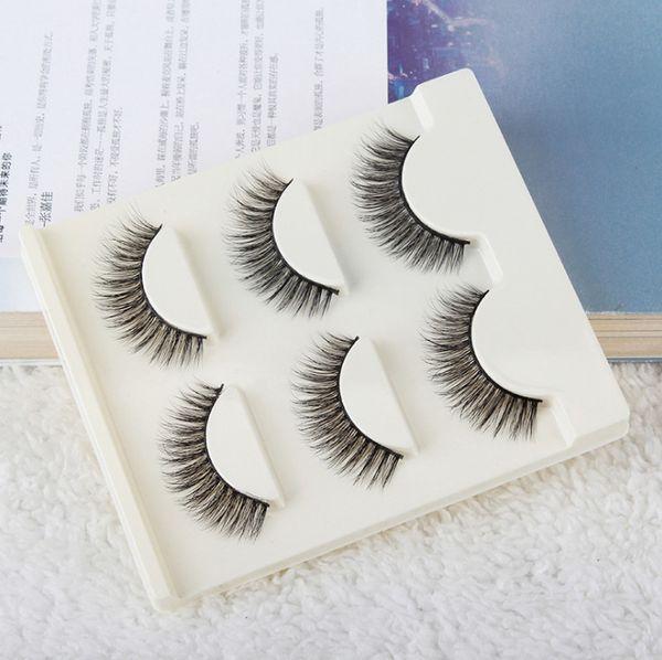 2018 Pure Handmade Fake Eyelashes Sythetic Hair Lash Extension Black Cotton Stalk False Eyelash 3Pairs/Box Natural Long Lash Prdesign