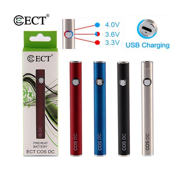 ECT COS DC batería 450 mah vape 3 grado VV precalentamiento batería de 510 hilos e para atomizador de aceite grueso pluma de vaporizador