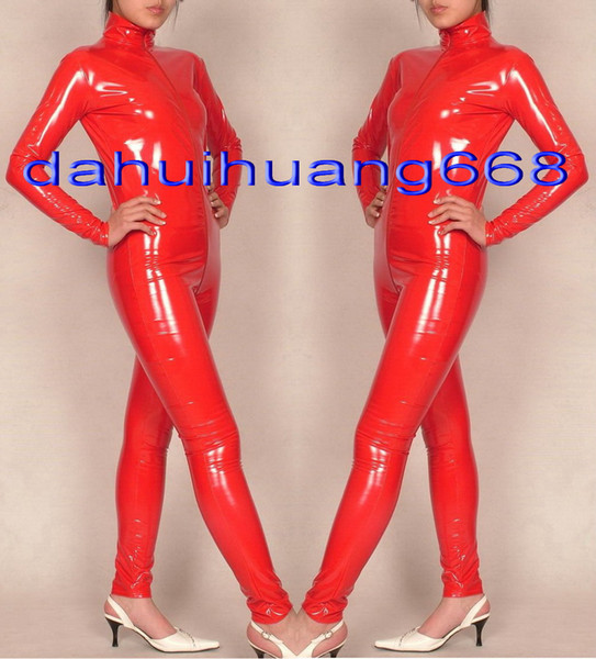 Red Shiny PVC Suit Catsuit Costumes Unisex Shiny Red PVC Body Suit Costumes Unisex Sexy PVC Bodysuit leotard With Long Zipper DH175
