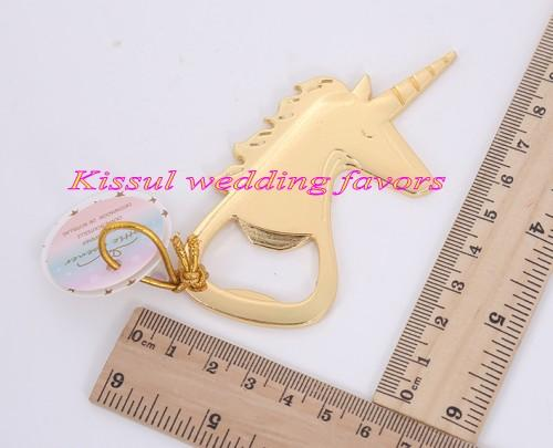 (10 Pieces/lot) Wedding and Party celebration gift of Gold Unicorn bottle Opener for bridal showers and Wedding favors