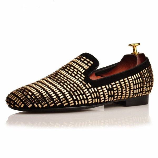 Gold Square Strass Men Loafers Rhinestones Slippers Smoking Moccasins Wedding Dress Shoes Casual Flats Black suede
