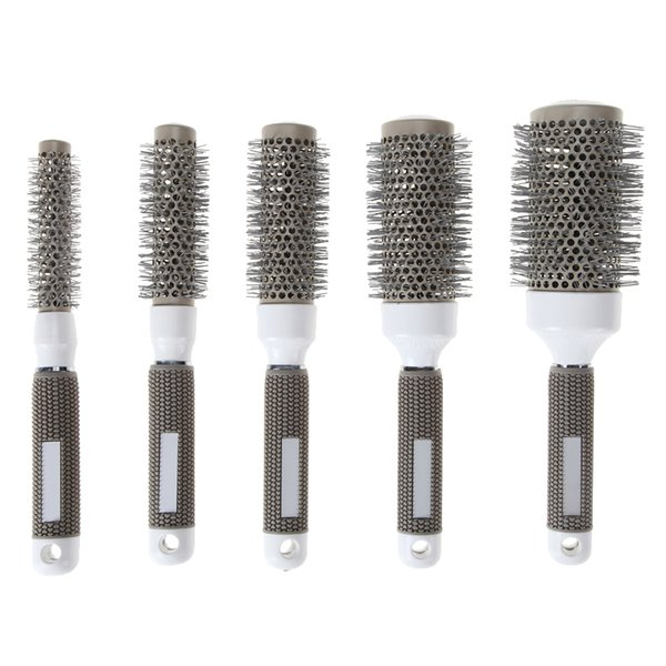 5 Sizes Gray Ceramic Ionic Comb High Temperature Resistant Round Combs Iron Radial Brushes Curly Hairbrush Hair Salon Tool