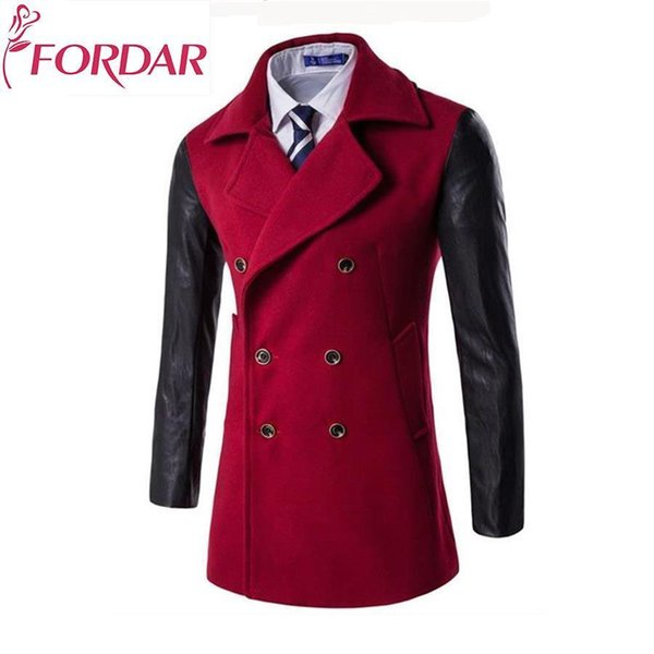 2018 England Style Men's Fashion Wool Coats Double Breasted Male Jackets V-neck Patchwork Leather Long Sleeved Mens Parkas Top