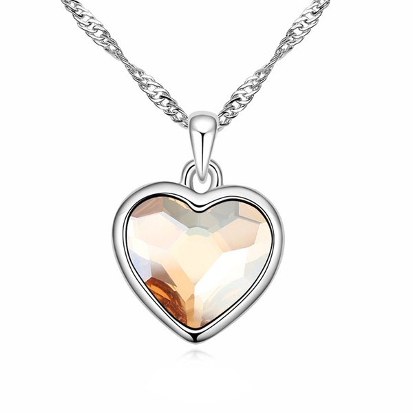 Pink crystal heart pendant necklace with Crystals from Swarovski for women ladies girls lover fashion jewelry gift 2018