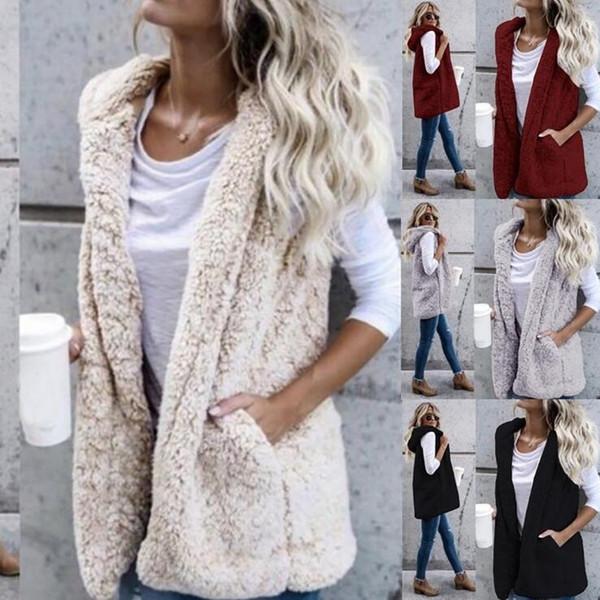 Women Sleeveless Sherpa Vest 6 Colors Winter Warm Jacket Hoodie Casual Outwear Sherpa Coat Hooded Maternity Waistcoat OOA5924