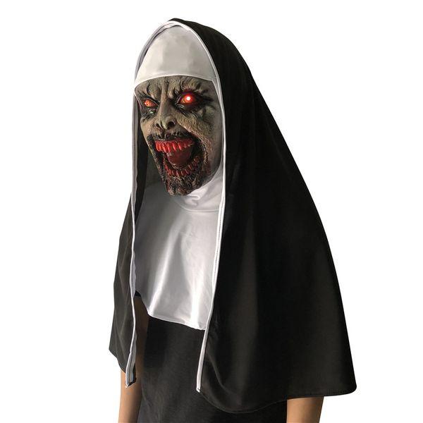 LED The Nun Horror Mask Halooween Valak Scary Masks Latex With Veil Headgear 3 Piece Set Full Face Helmet Cosplay Costumes 2018 Kids LED Toy