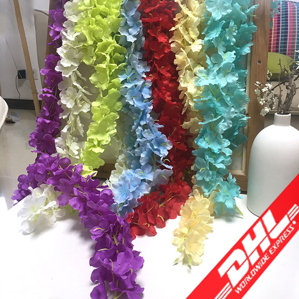 best selling Artificial Garland Silk Hydrangea Wedding Flowers High Density Flower Petal String Wedding Decorations Party Supplies Mixed Color Wholesale