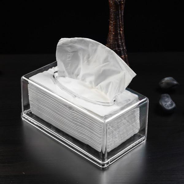 Cajas de tejido de plexiglás acrílico Rectangular caja de tejido transparente