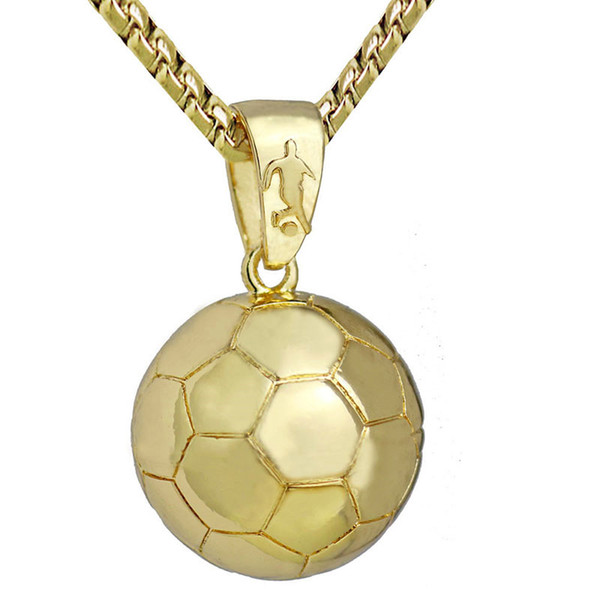 3D Football Soccer Necklace Ball Sports Pendant Gold Stainless Steel Snake Chain Necklace Men Sports Athletic Hip Hop Jewelry