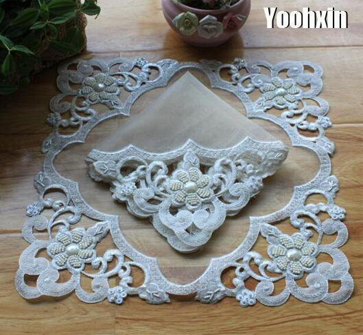 Modern lace beads place table mat cloth pad embroidery cup mug drink doily dining coffee coaster Christmas placemat kitchen