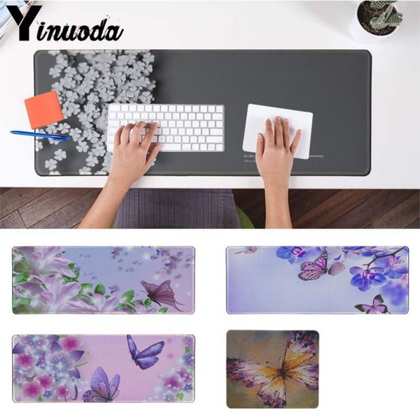 Yinuoda Colorful Butterflies and Flowers Gamer Mice Rubber Mousepad Size for 180*220 200*250 250*290 300*900 and 400*900*2mm