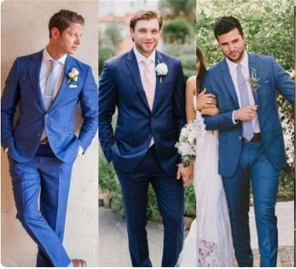 Costumes Homme Bleu Slim Fit Tuxedo Pour Le Marié Deux Boutons Costumes Homme Pour Le Mariage Hommes Vêtements De Bal Formelle (Veste + Pantalon) Pas Cher