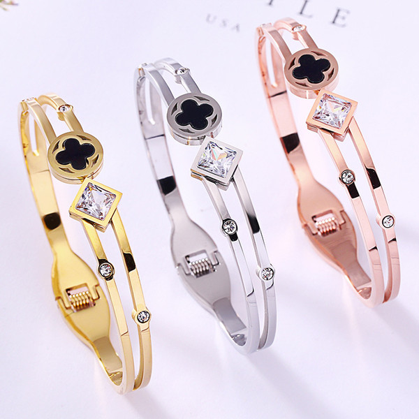 Classic Women Square Diamond and Black Flower Bracelet 3 Colors 18K Rose Gold Bangle For Daily Wearing Best Gifts For Party, Anniversary