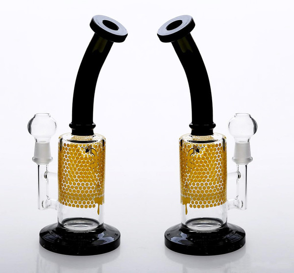 New Glass Bong 10 Inches HONEYCOMB PERCOLATOR Equipped with female Bowl joint 14mm oil rigs hookahs