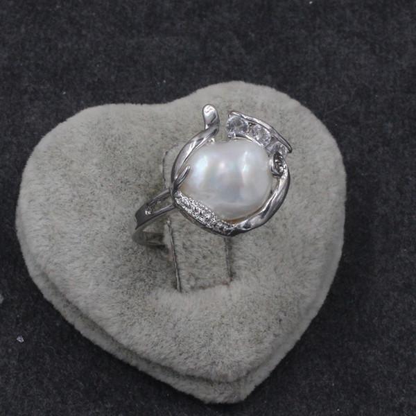 Oro bianco autentico dorato Anello singolo bianco perla Mabe Tiny CZ Stone per donne Formato: 7 8 9