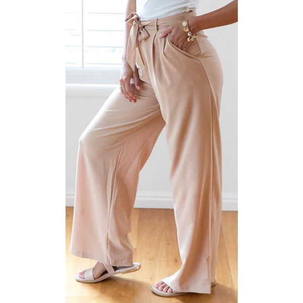 2018 Cotton Formal Rushed Hot Sale Pantalon Mujer Palazzo Pants High Waist Trousers Belt Solid Wide Leg Leisure Pants Woman