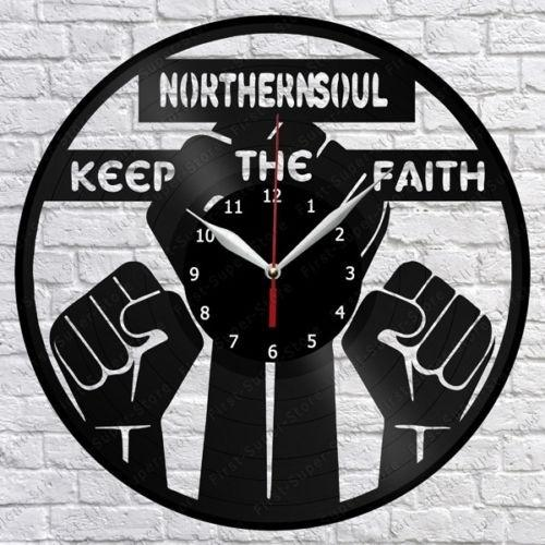 Northern soul Vinyl Record Wall Clock Fan Art Home Decor Handmade Art Personality Gift (Size: 12 inches, Color: Black)