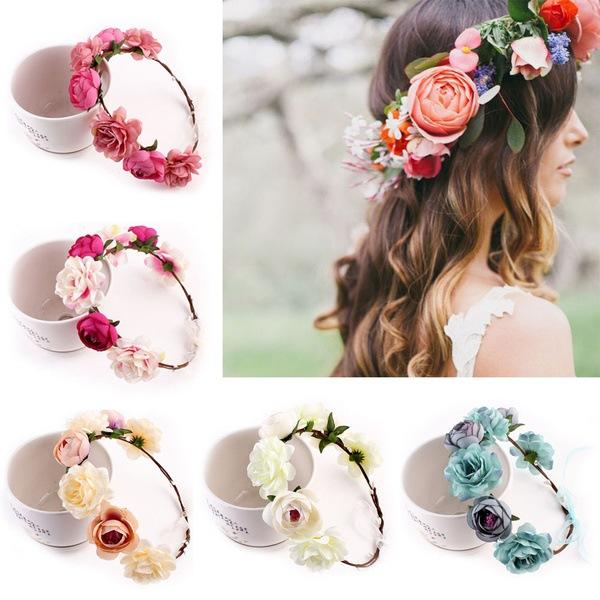 New fashion Bohemia Handmade Flower Crown Wedding Bridal Wreath Headdress seaside tourist Flowers hair band Free shipping