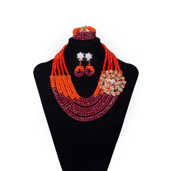 5 fili rosso e arancio di cristallo nigeriano perline di nozze gioielli da sposa set collana africana set per le donne etiope costume del partito