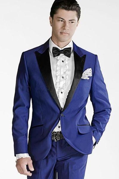 2018 High Quality Royal Blue Groom Tuxedos Peak Lapel Groomsmen Mens Wedding Suits Clothing Prom Suits ( jacket+Pants+tie)
