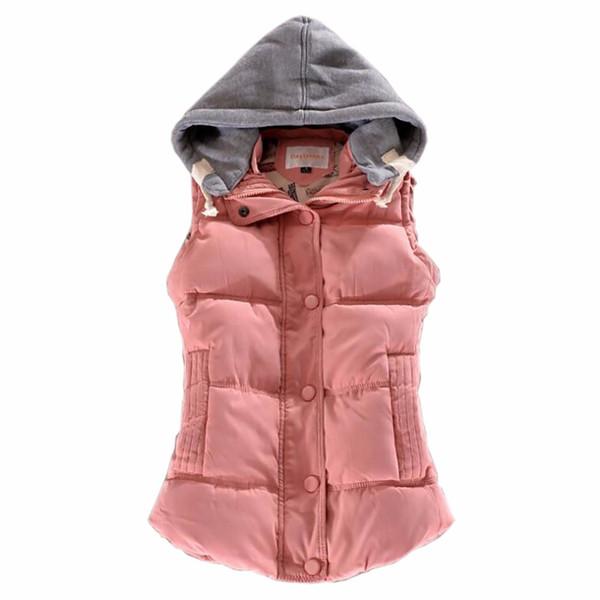 2017 Marque Hiver Femmes Gilet En Coton Mince En Coton Pour Les Femmes Coletes Femme Gilet Veste Manteau Rose Réchauffer Bas Survêtement 7 Couleur