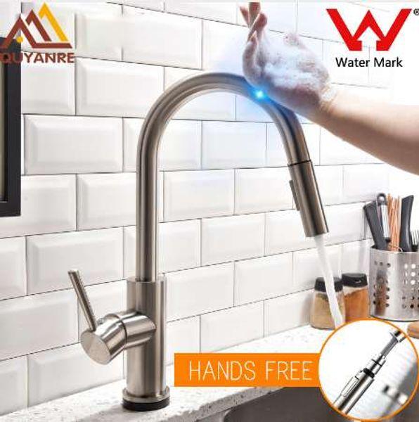 Quyanre Lead-free Stainless Steel Pull Out Sensor Kitchen Faucet Sensitive Touch Control Faucet Mixer Touch Sensor Kitchen Tap