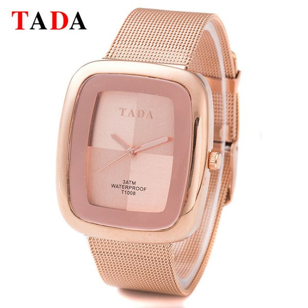 3ATM Waterproof TADA New rectangle girl gold Lady Watches Women Mesh steel rose gold Wristwatches Relojes Mujer Relogio FemininoY1883103