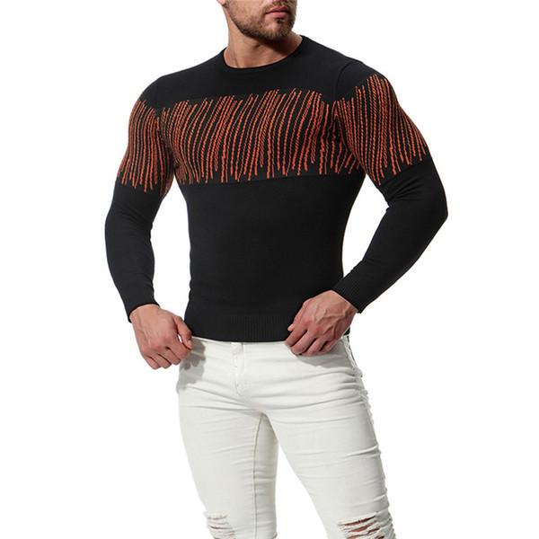 Güzel Erkekler Pamuk Şerit Desen Örgü Ince Kazak Moda Erkekler Yuvarlak Boyun Uzun Kollu Kazak Kazak Siyah Kırmızı S-2XL
