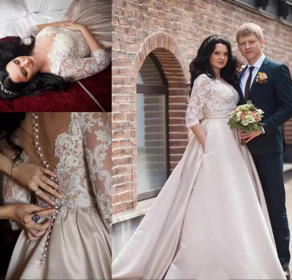 Árabe Dubai Estilo Laço De Cetim Vestidos de Casamento Plus Size Moderno Ilusão Meia Mangas Apliques com Botão Coberto Voltar Formal Vestidos de Noiva