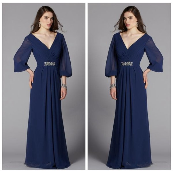 2019 Custom V-Neck Long Sleeves Mother's Dresses Formal Wedding Party Dress Capped Maxi Long Mother Of the Bride Dresses