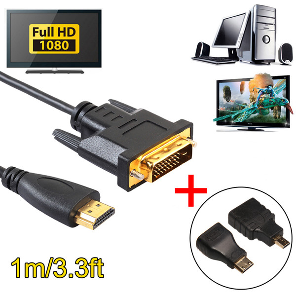 to DVI 24+1 Cable Cord Wire Converter 1080P 5Gbps with Micro/Mini Male to HDMI